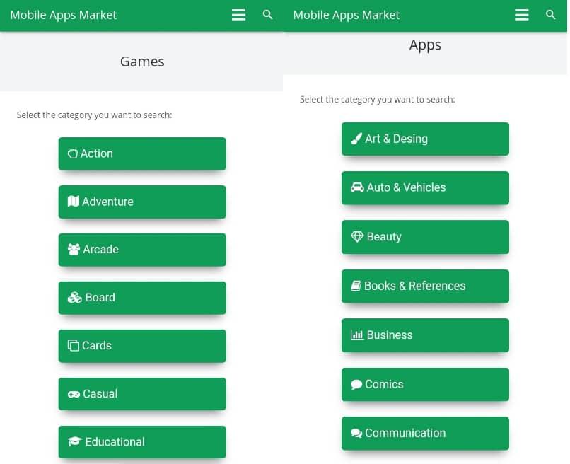 categorias de app y juegos para descargar