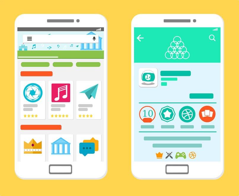 dispositivos moviles visualizando aplicaciones de play store