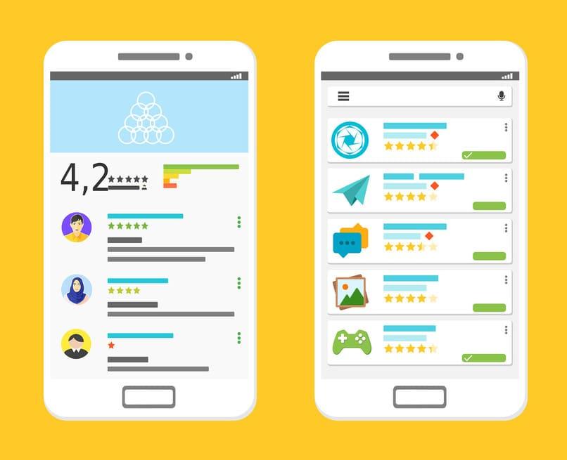 dispositivos moviles con la app de play store