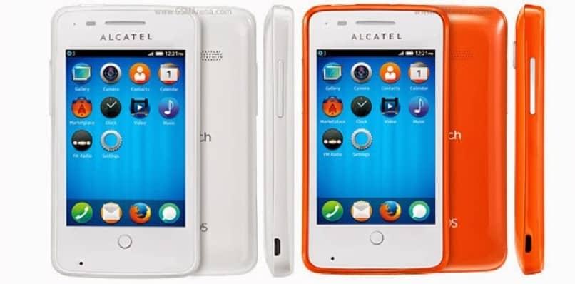 smartphone alcatel blanco y naranja