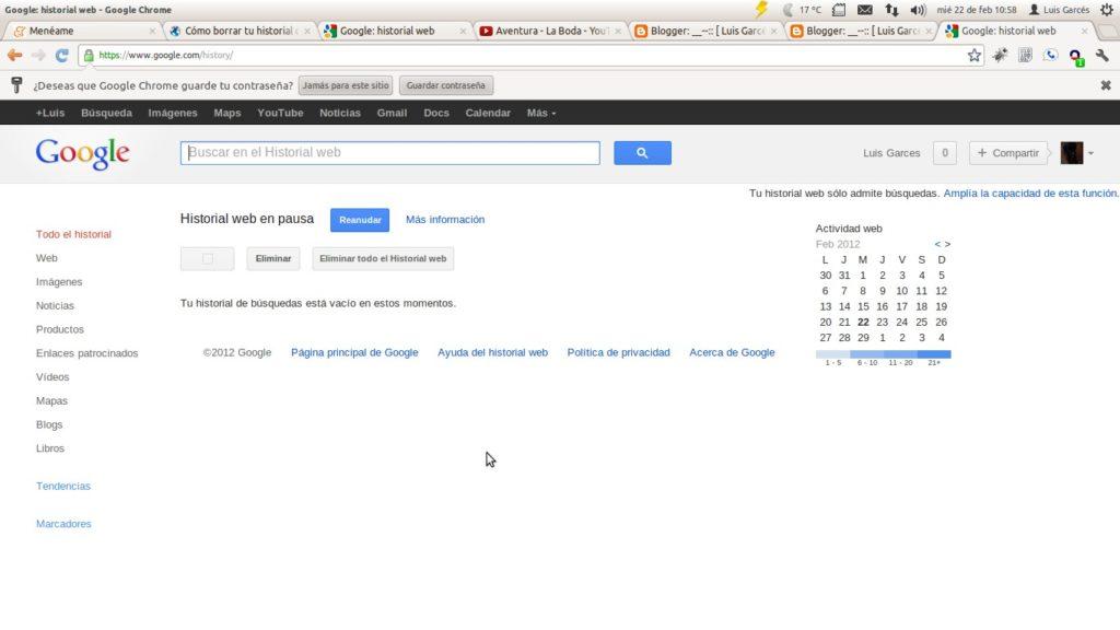 Borrar Historial Búsqueda Google Ordenador
