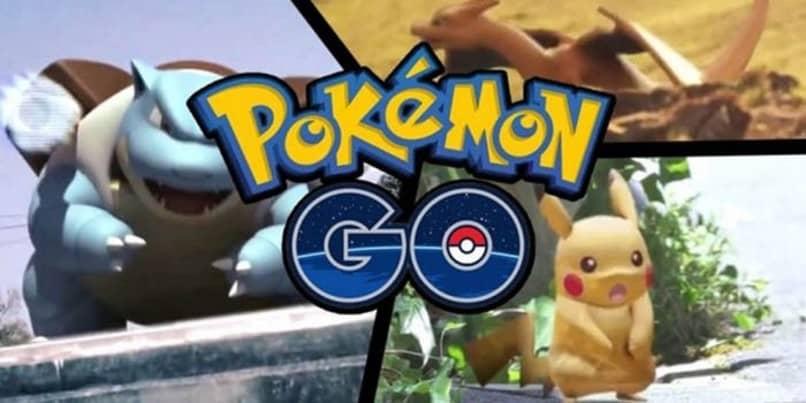 blastoise charizard y pikachu tras el logo de pokemon go