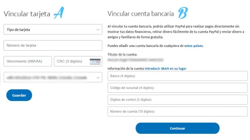 vincular tarjeta credito cuenta bancaria a PayPal