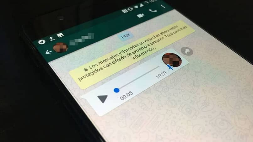chat de whatsapp con audio