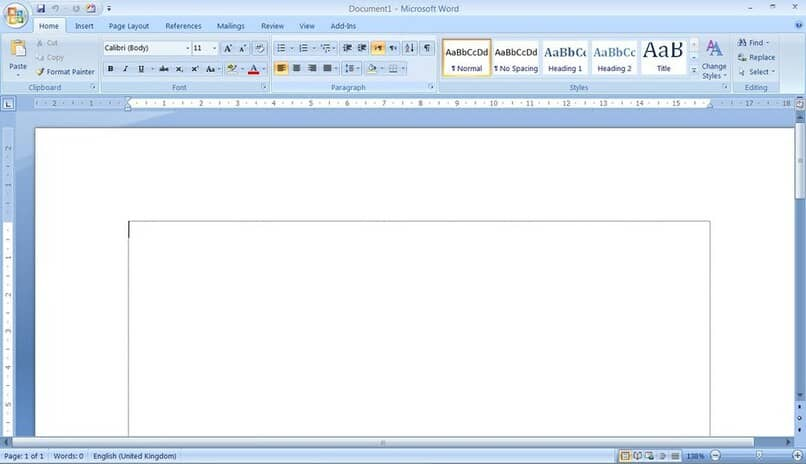 documento de word en blanco