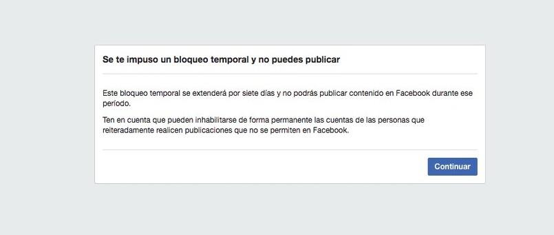Aviso de bloqueo temporal de facebook
