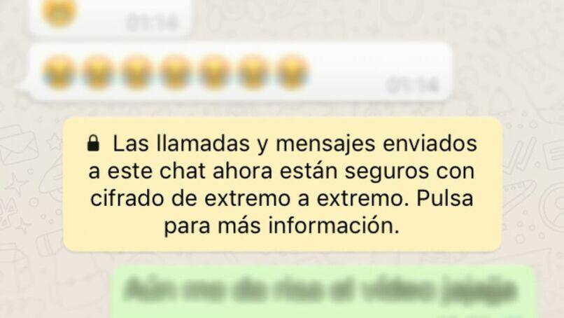mensaje de whatsapp acerca del cifrado de extremo a extremo