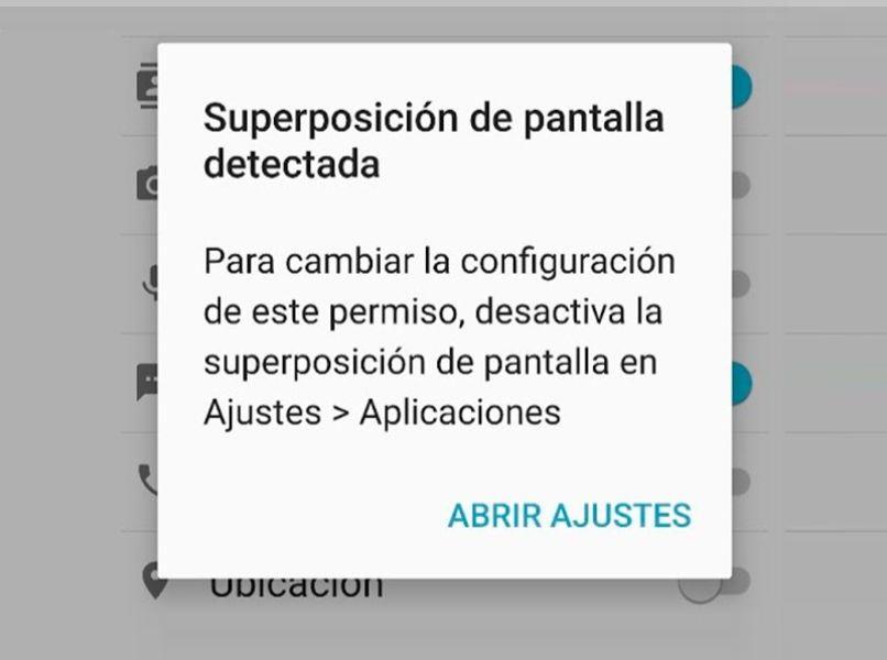 capture pantalla dispositivo android detecto superposicion pantalla