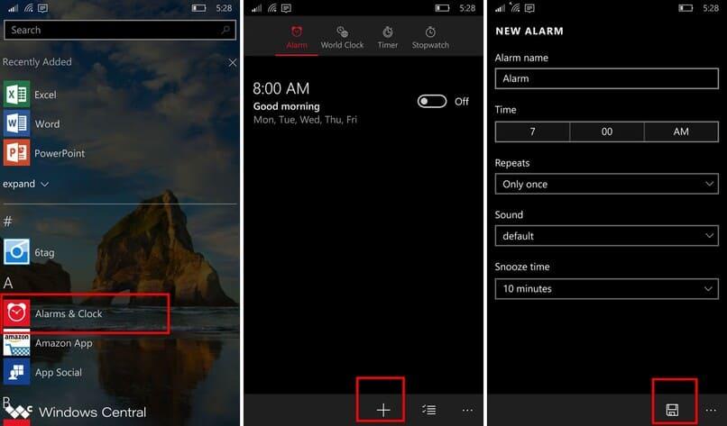manera de configurar la alarma de windows