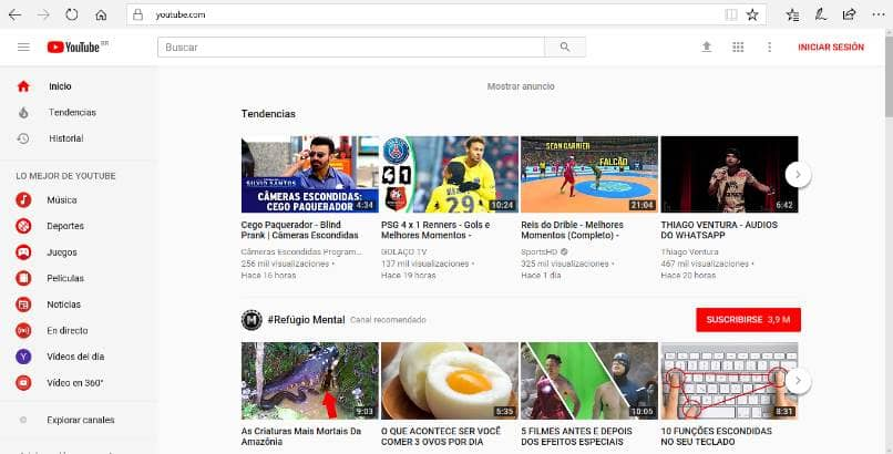 pantalla inicio youtube