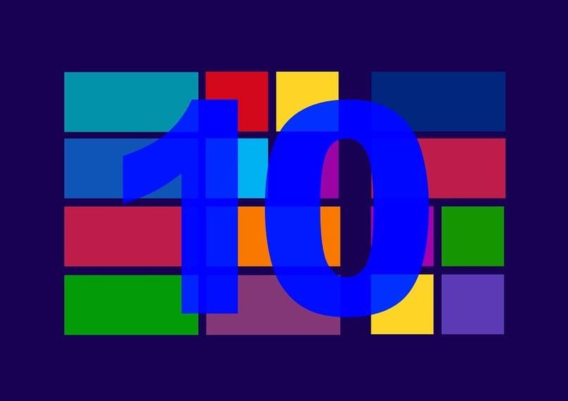 numero diez frente cuadros de diversos colores