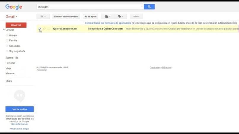 eliminar el spam del correo gmail