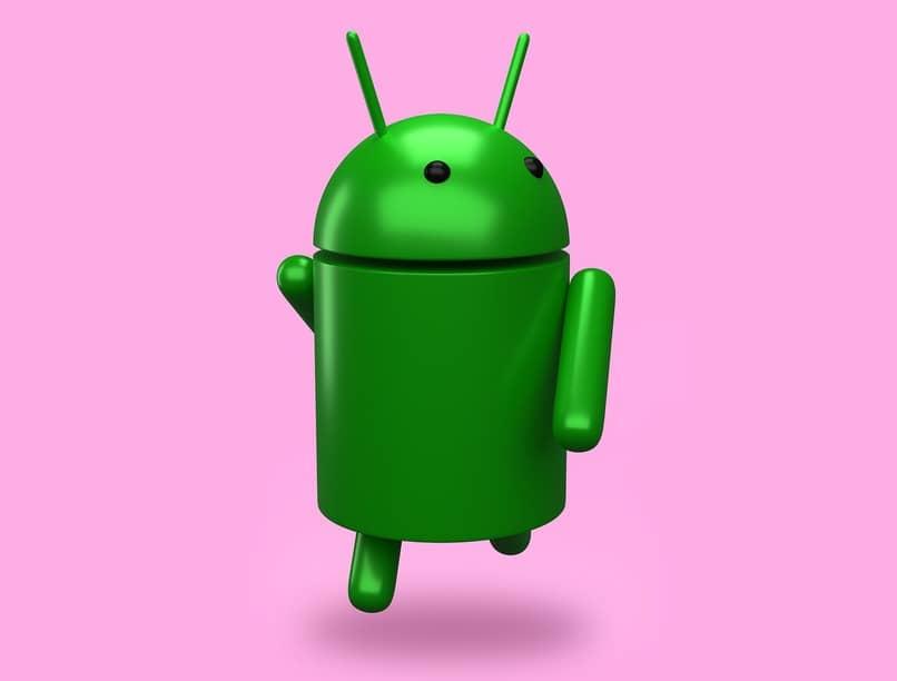 icono de android sobre un fondo color rosa