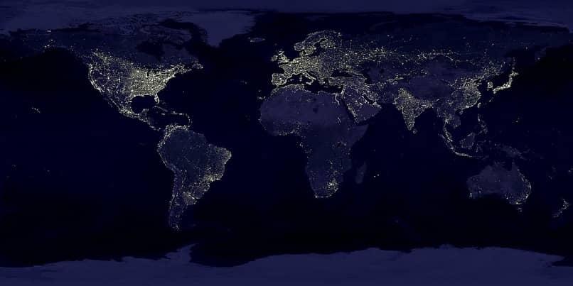 mapa de los continentes color azul oscuro