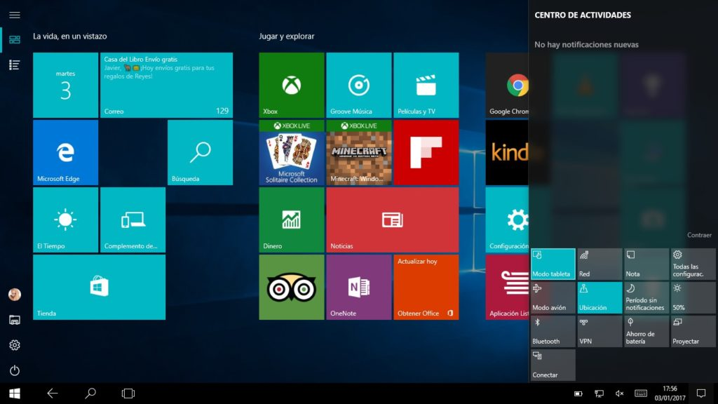 Modo Tablet de Windows 10 1