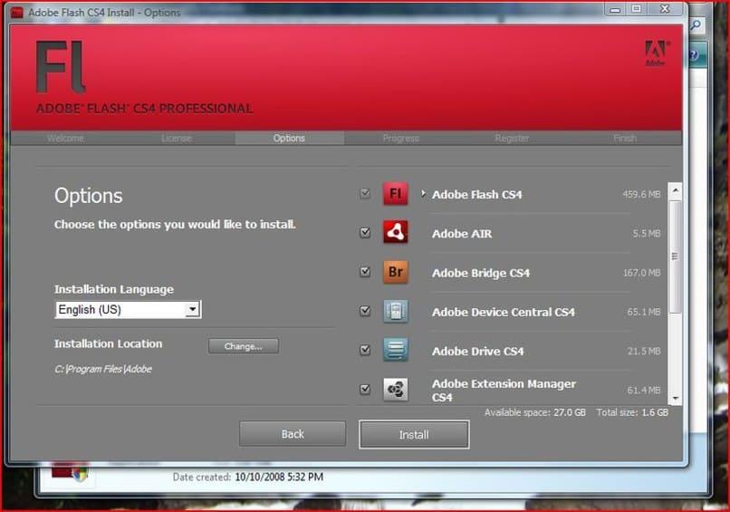 diversas opciones a instalar en adobe flash player