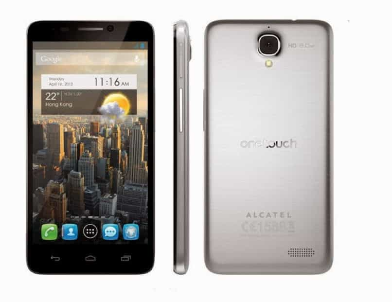 equipo android alcatel gris