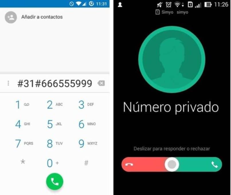 smartphone con numero telefonico oculto