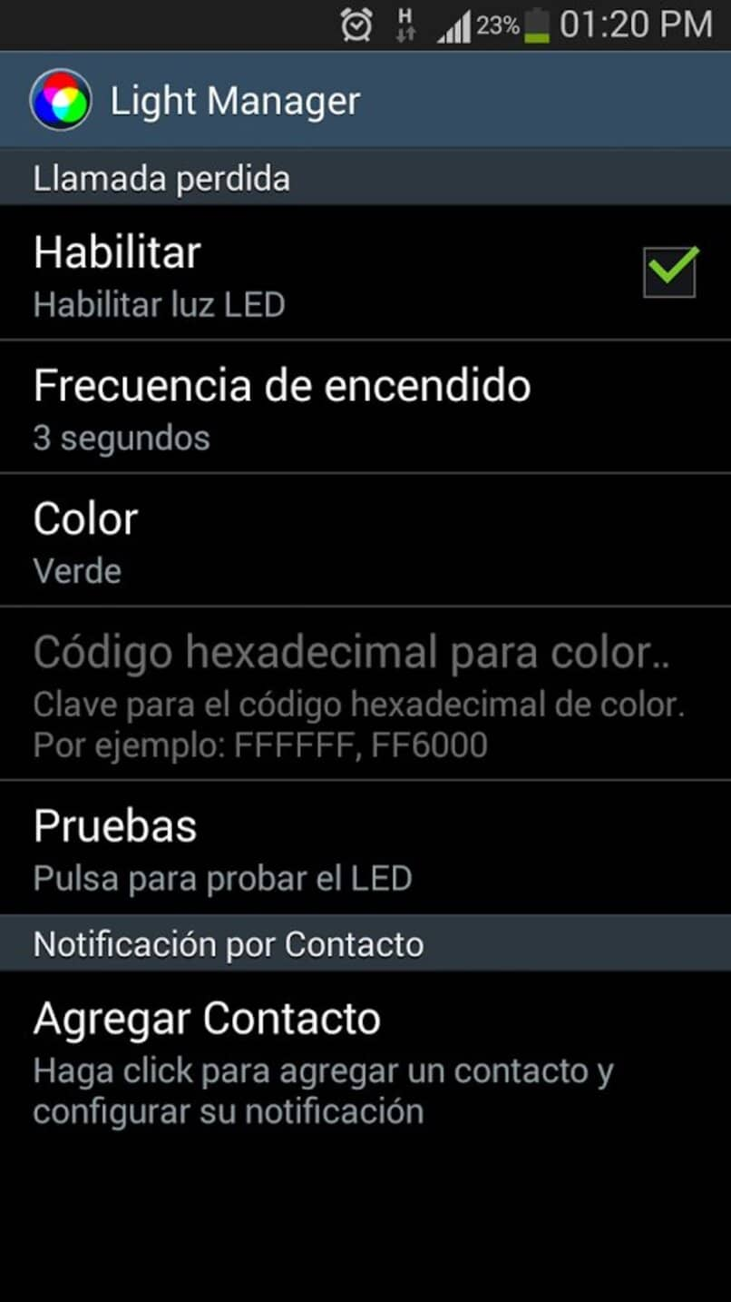 habilitar luz led