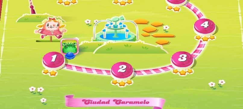 mapa del juego en candy crush ciudad caramelo