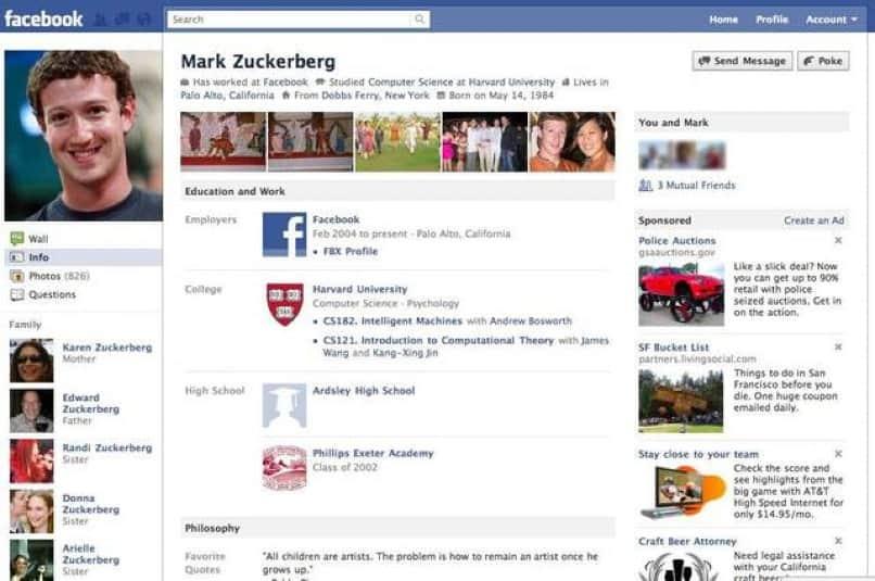 perfil de usuario en facebook