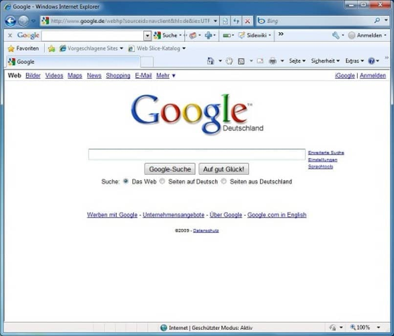 google en internet explorer