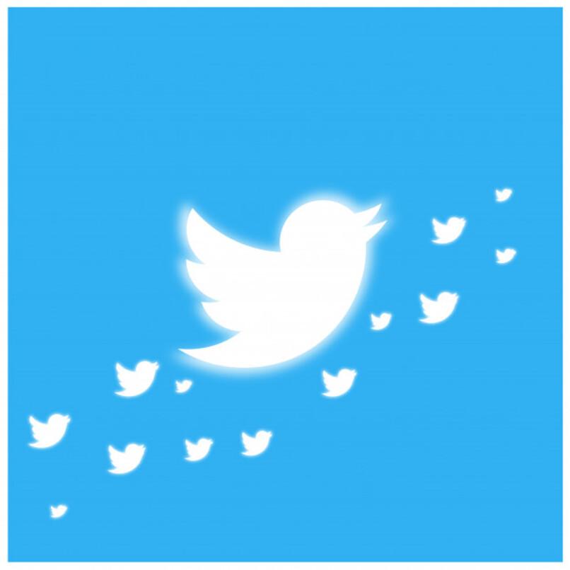 logo de twitter grande junto a logos mas pequeños