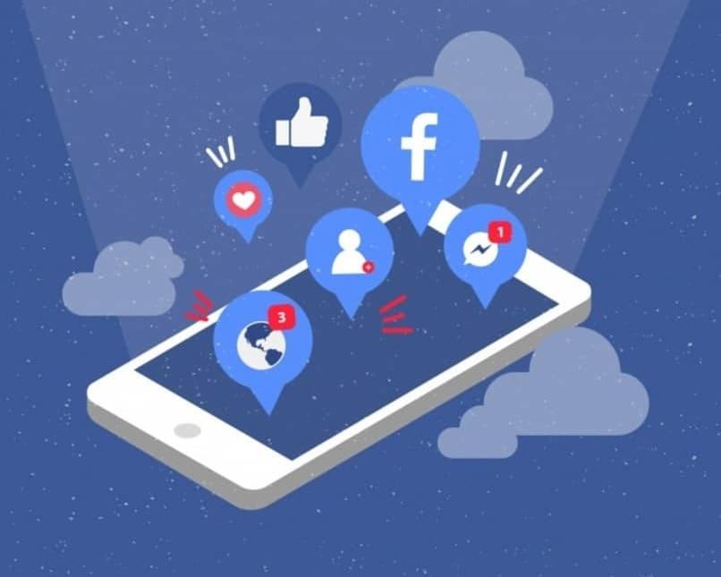 reacciones y notificaciones de facebook saliendo de un movil