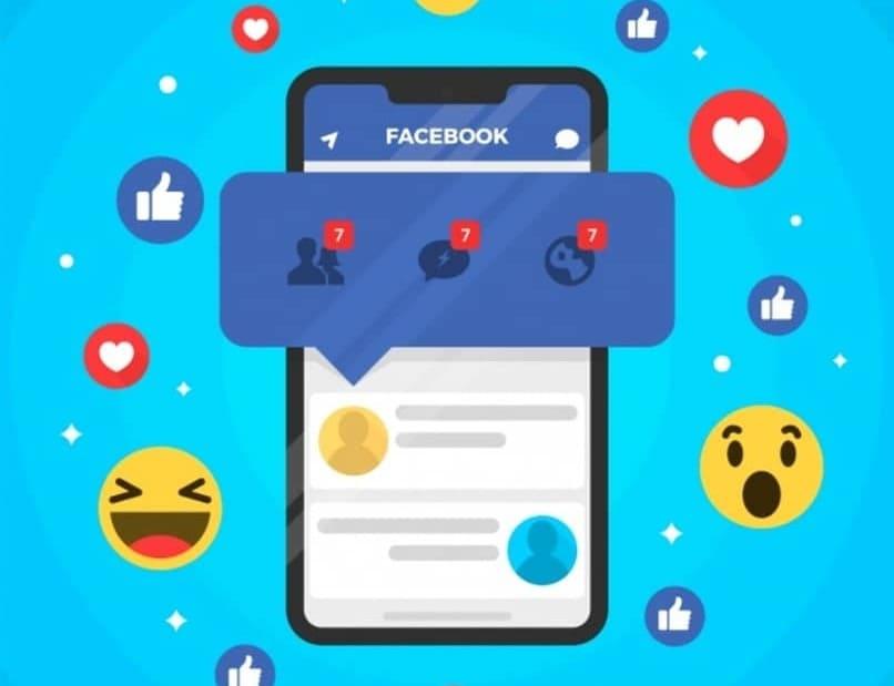 reacciones de facebook rodeando a un movil con notificaciones en el centro