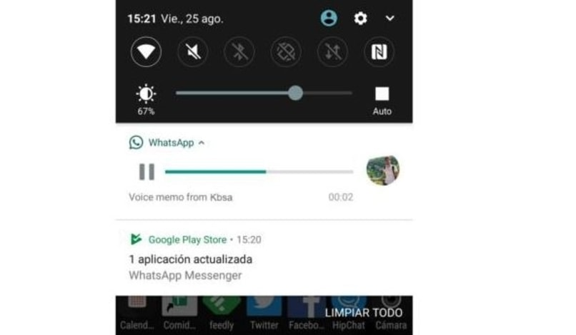 reproduccion de audio de whatsapp en notificaciones