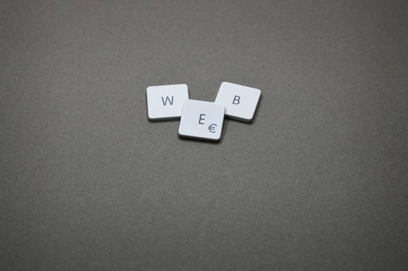 palabra web con fondo gris