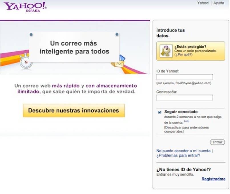 correo yahoo pantalla acceso