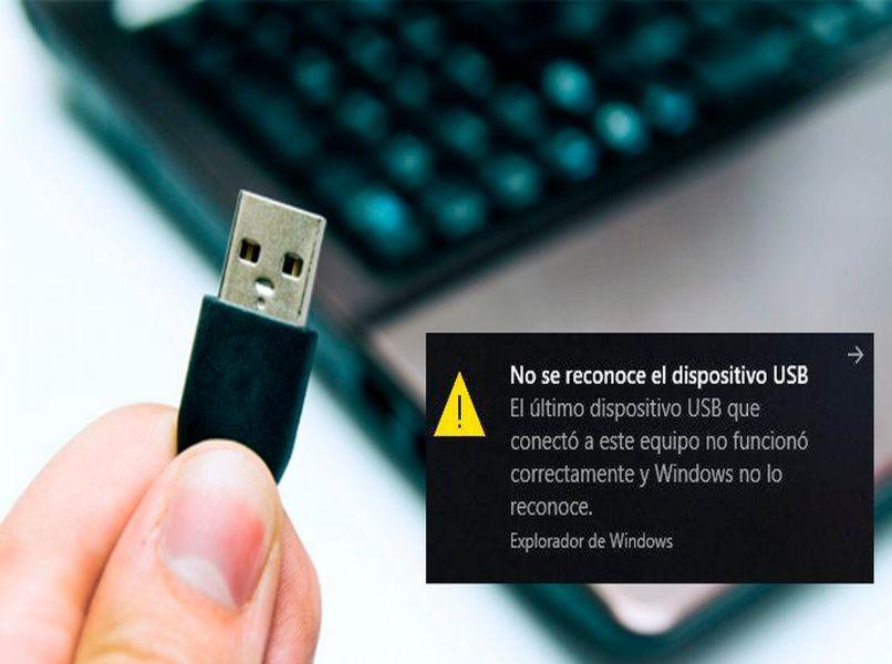 mensaje no reconoce dispositivo usb mano laptop gris teclas negras fondo blanco