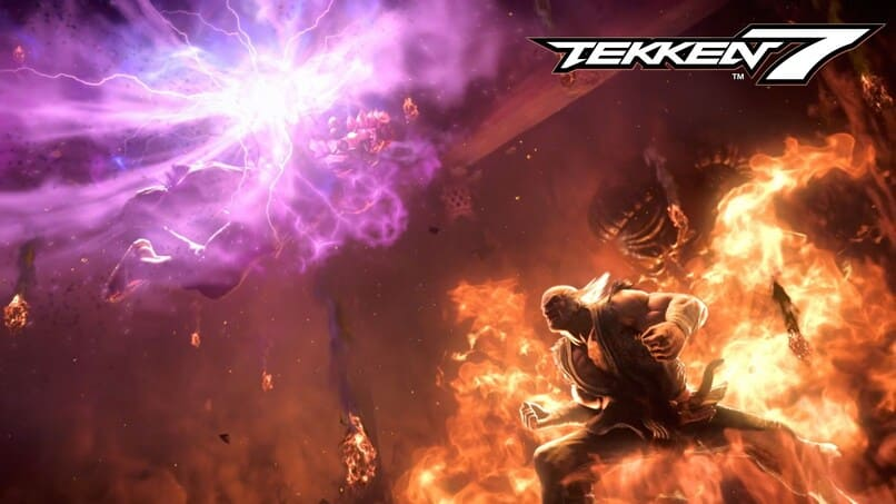 personaje del videojuego tekken frente a llamas de fuego