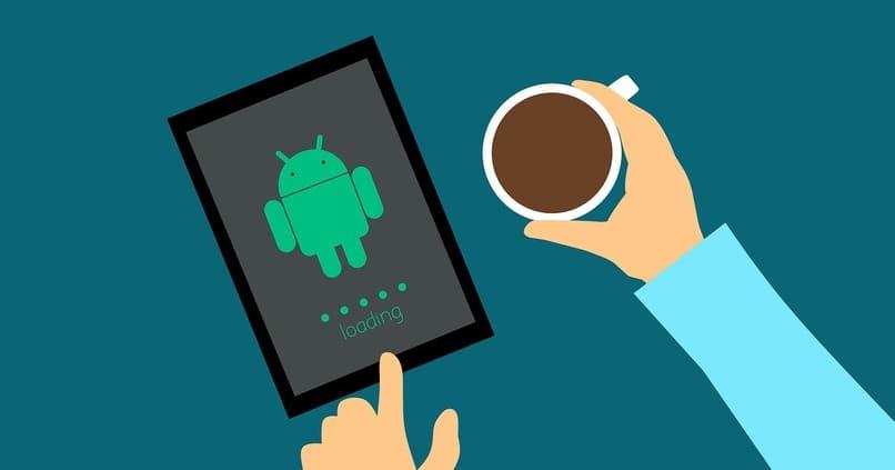 dispositivo con el logo de android en su pantalla