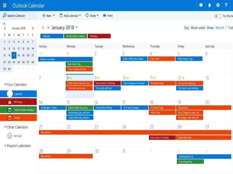recordatorio de diferentes colores de calendario de outlook