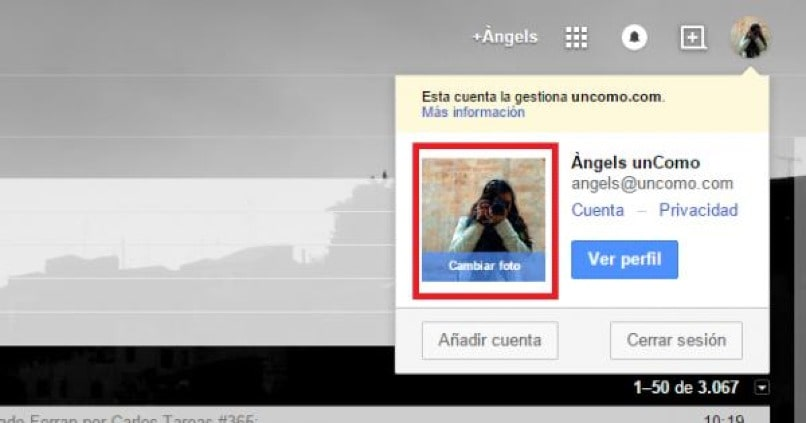 como cambiar foto de perfil en gmail