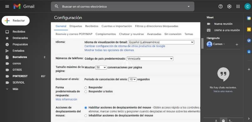 ventana configuracion gmail