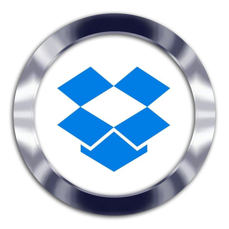 logo de dropbox con bordes plateados redondos