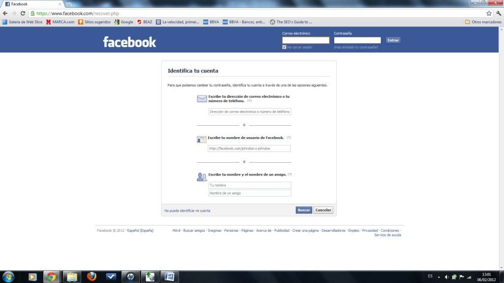 pestaña de facebook para la identificación de tu cuenta