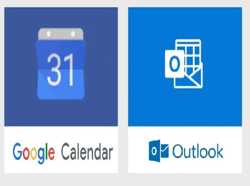 logos coloridos de google calendar y calendario outlook