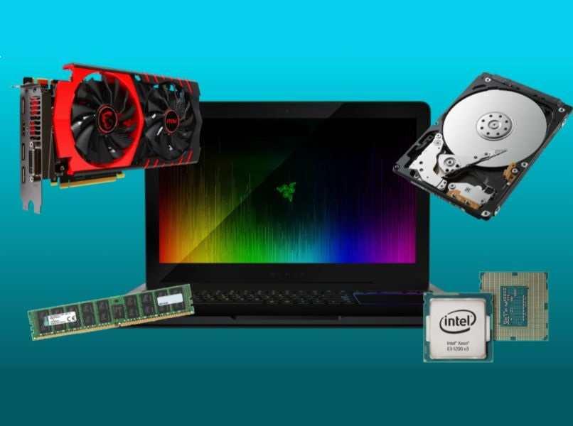 gup negra roja memoria ram verde procesador intel disco duro laptop negra protector pantalla colorido