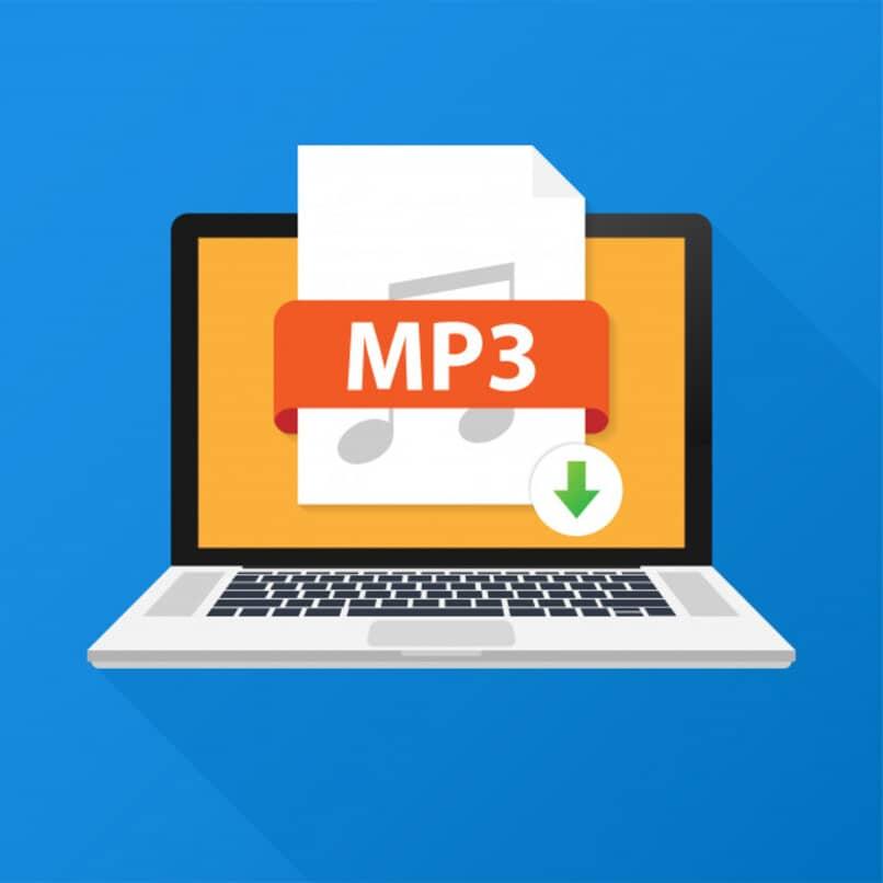 ilustracion de vector de descarga en portatil de archivo mp3