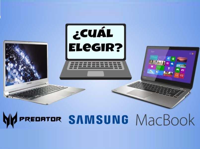 icono laptop gris fondo azul marcas predator samsung macbook