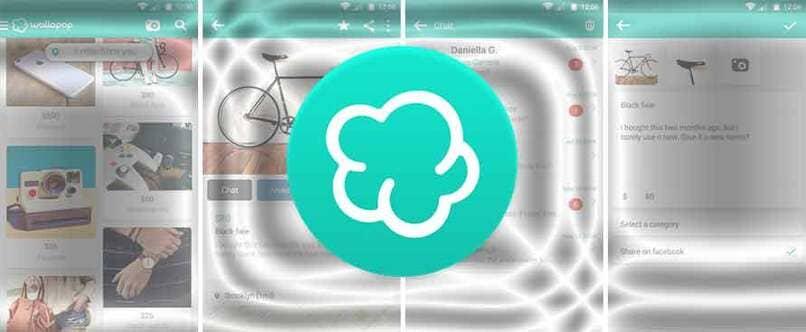 logo de wallapop encima de capturas de pantalla
