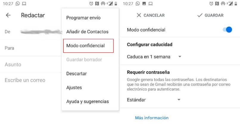 enviar correo gmail modo confidencial