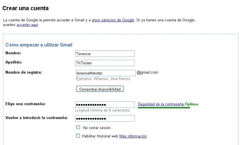 formato de registro de cuenta google