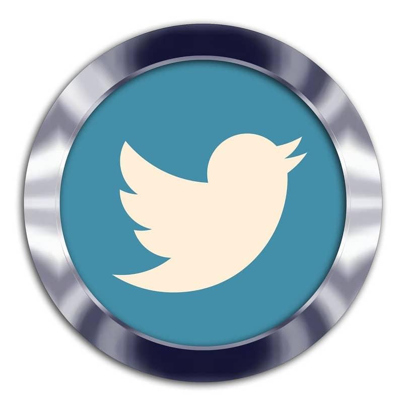 logo de twitter redondo con borde metalico