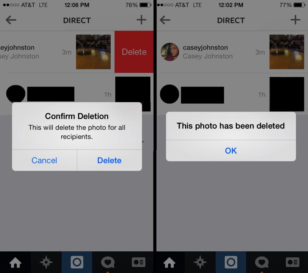 pantalla de confirmación al eliminar un comentario en Instagram