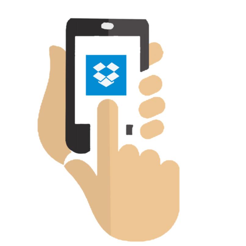 ilustracion de mano utilizando dropbox en un movil
